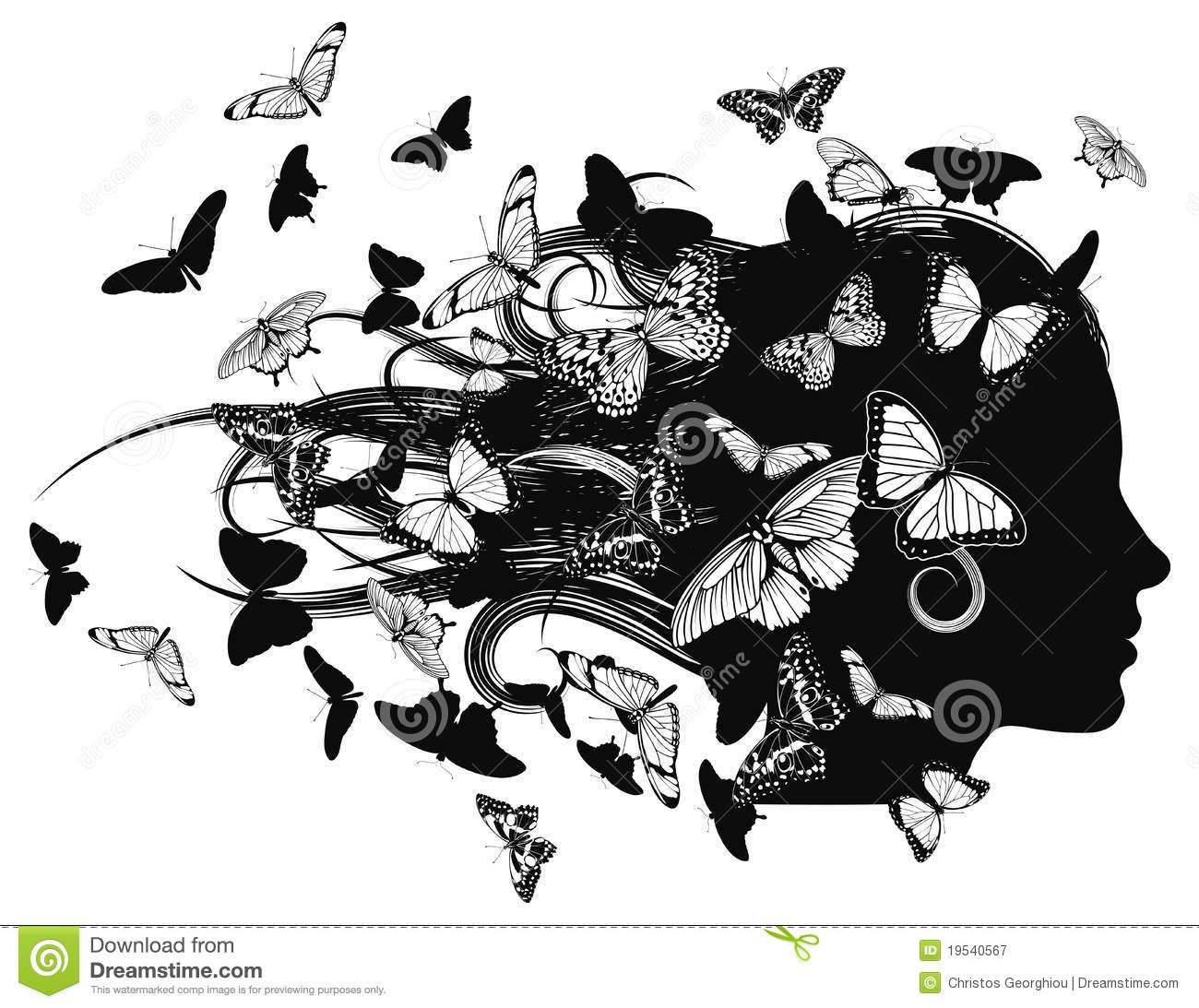 Beautiful Woman With Butterfly Hair Stock Vector