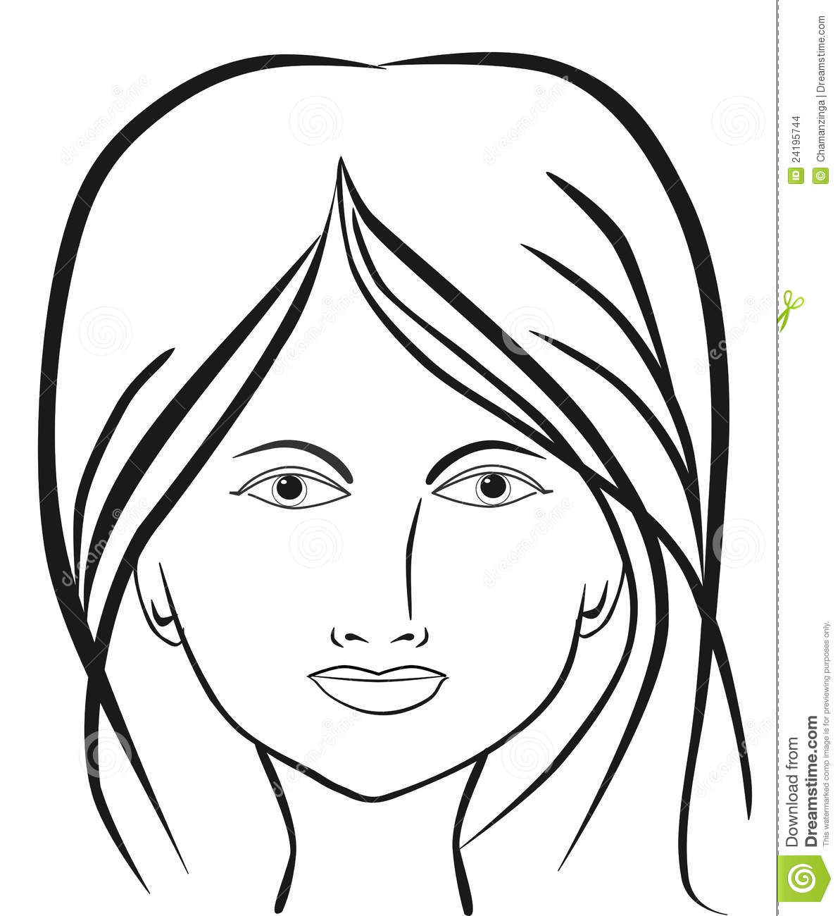 Beautiful Woman Face stock illustration. Image of