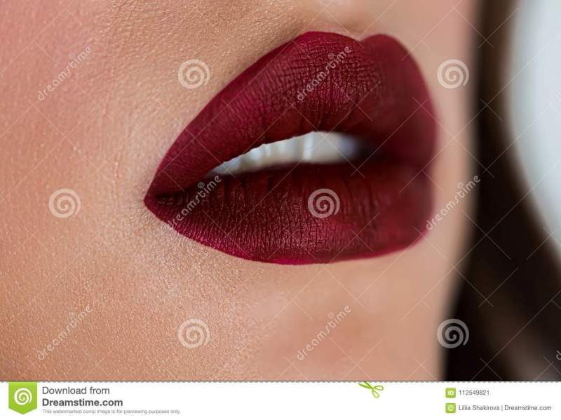 Beautiful Woman Face With Dark Red