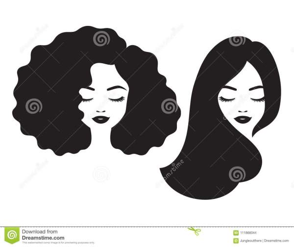 Beautiful Woman Face And Hair Silhouette Vector Illustration Stock - Of