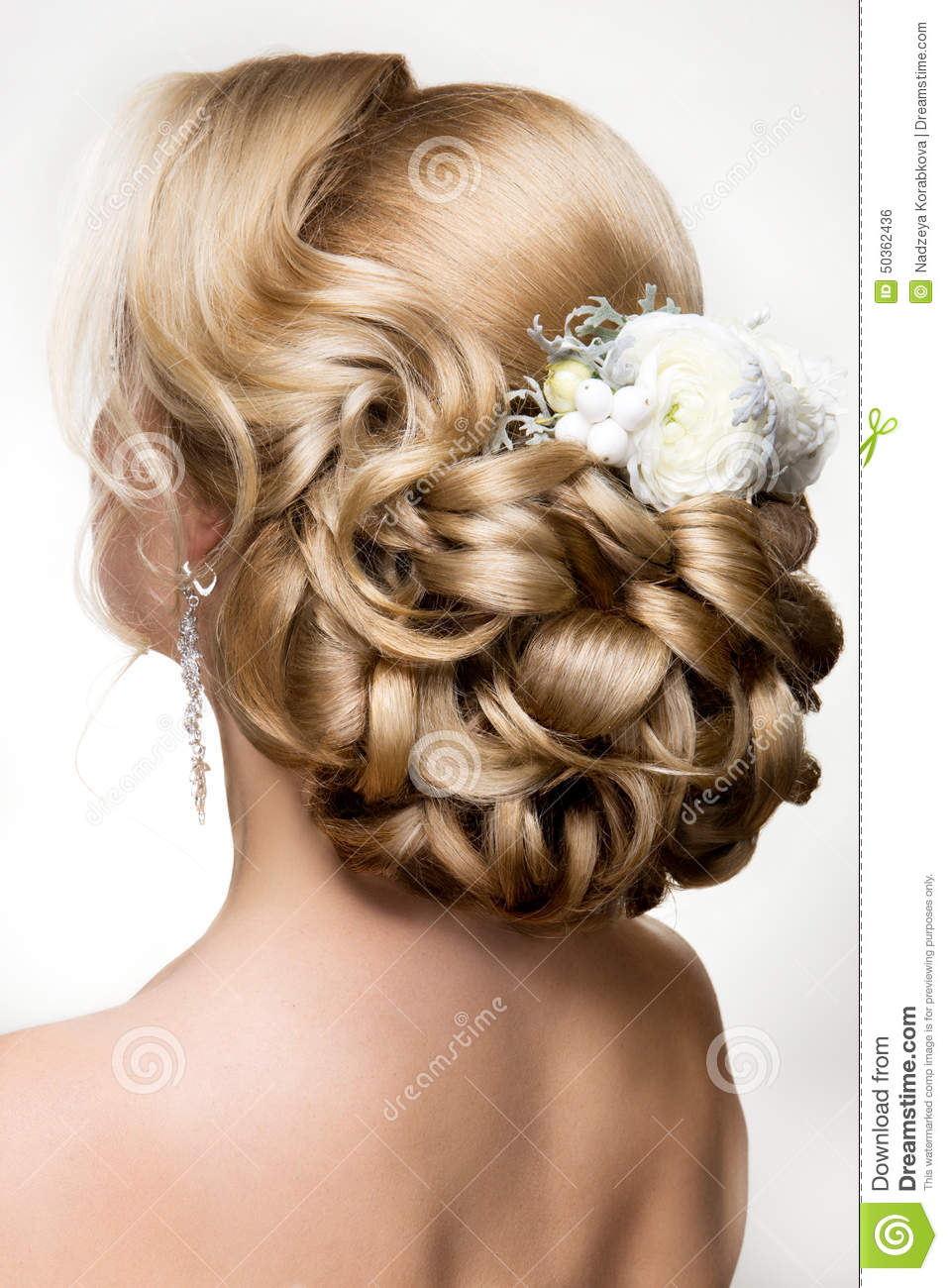 Beautiful Woman With Gold MakeupBeautiful Bride With Fashion Wedding Hairstyle Stock Photo