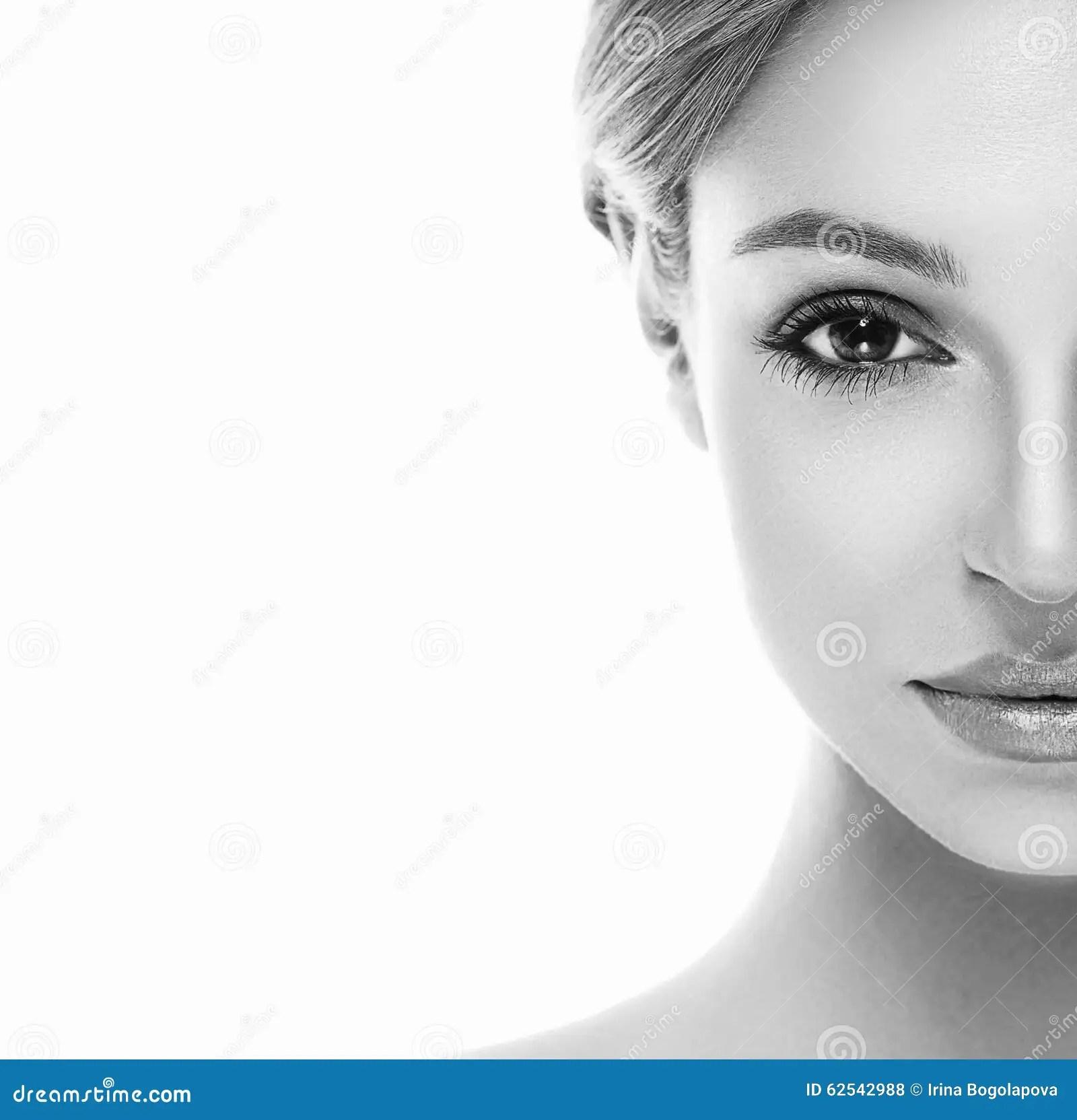 Beautiful Woman Half Face Close Up Studio On White Stock