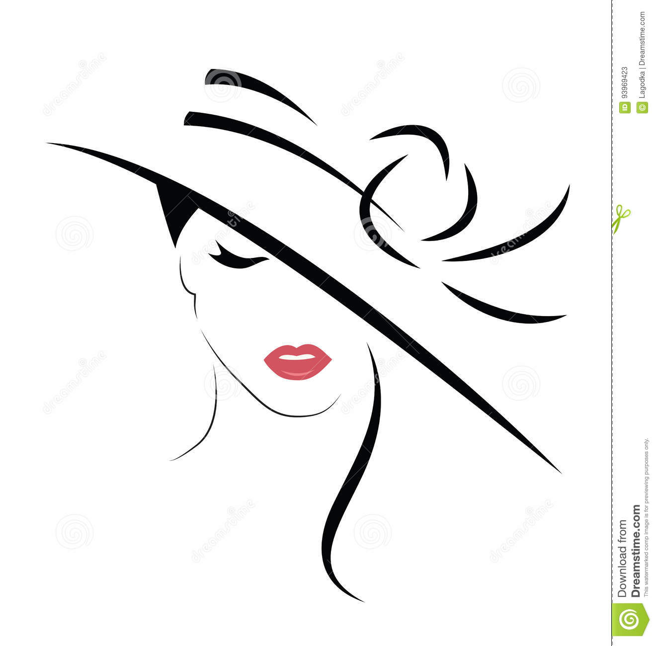 Beautiful Woman In Hat Stock Vector Illustration Of Lips
