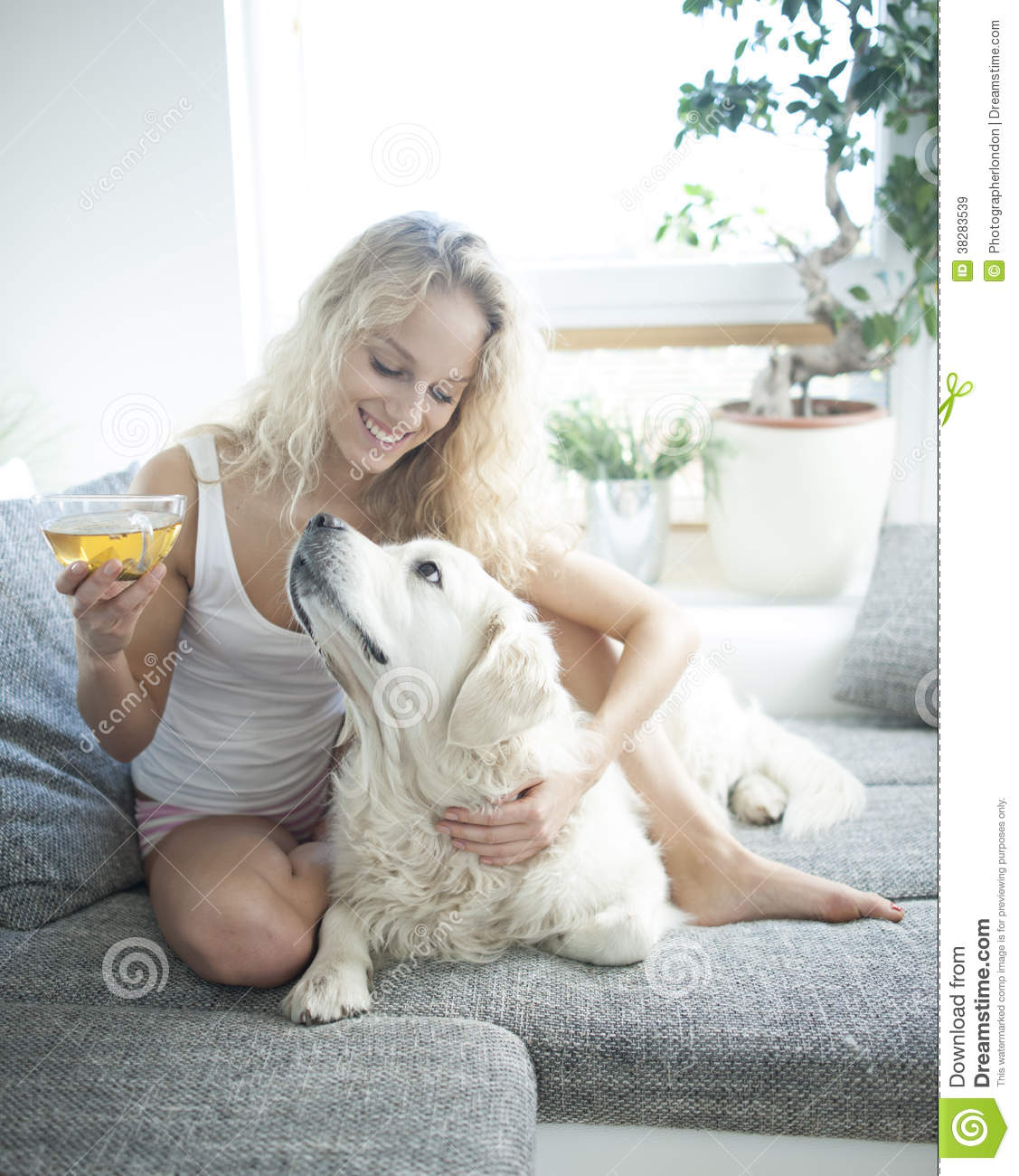 pet dog sofa beige living room decor beautiful woman holding tea cup while touching on ...