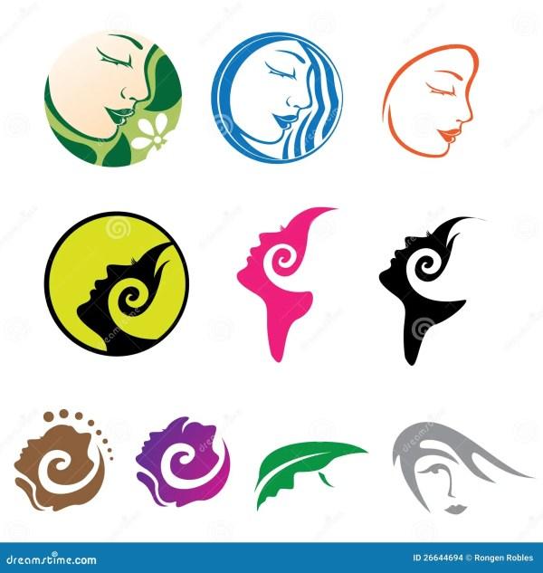 Beautiful Woman Icon Logos Stock Illustration