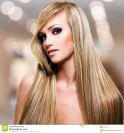 beautiful woman with long straight