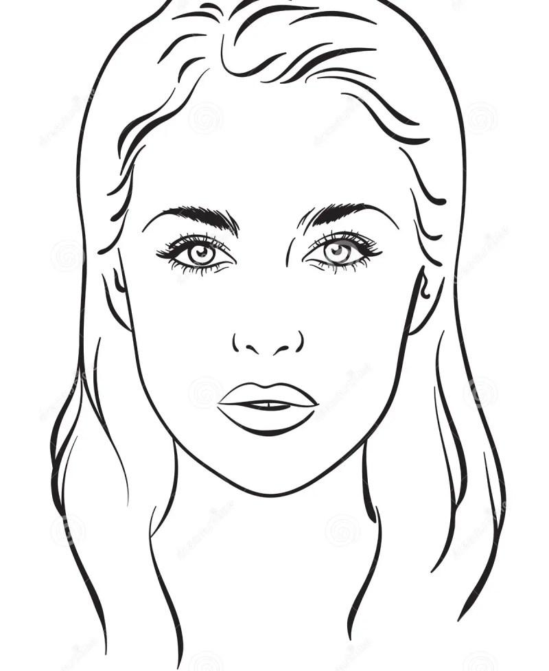 Beautiful Woman Portrait Face Chart