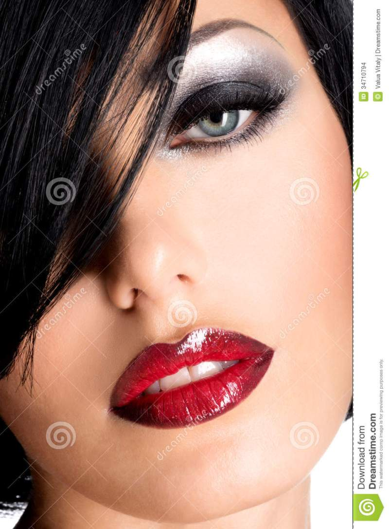 Red Lips And Eye Makeup Stock Photo