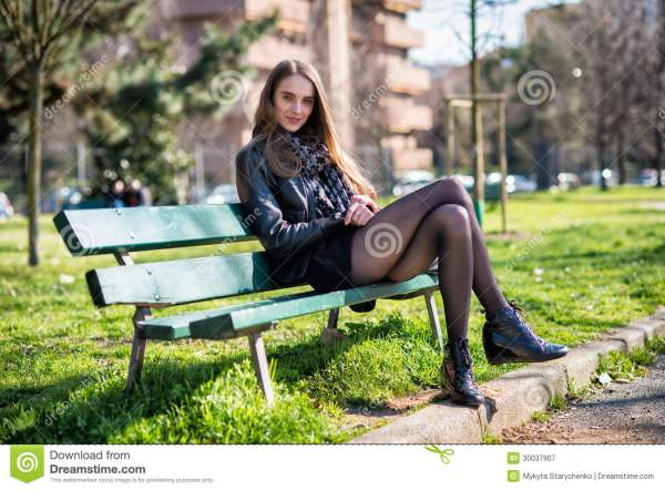 Beautiful Woman Sitting Bench In Park Stock