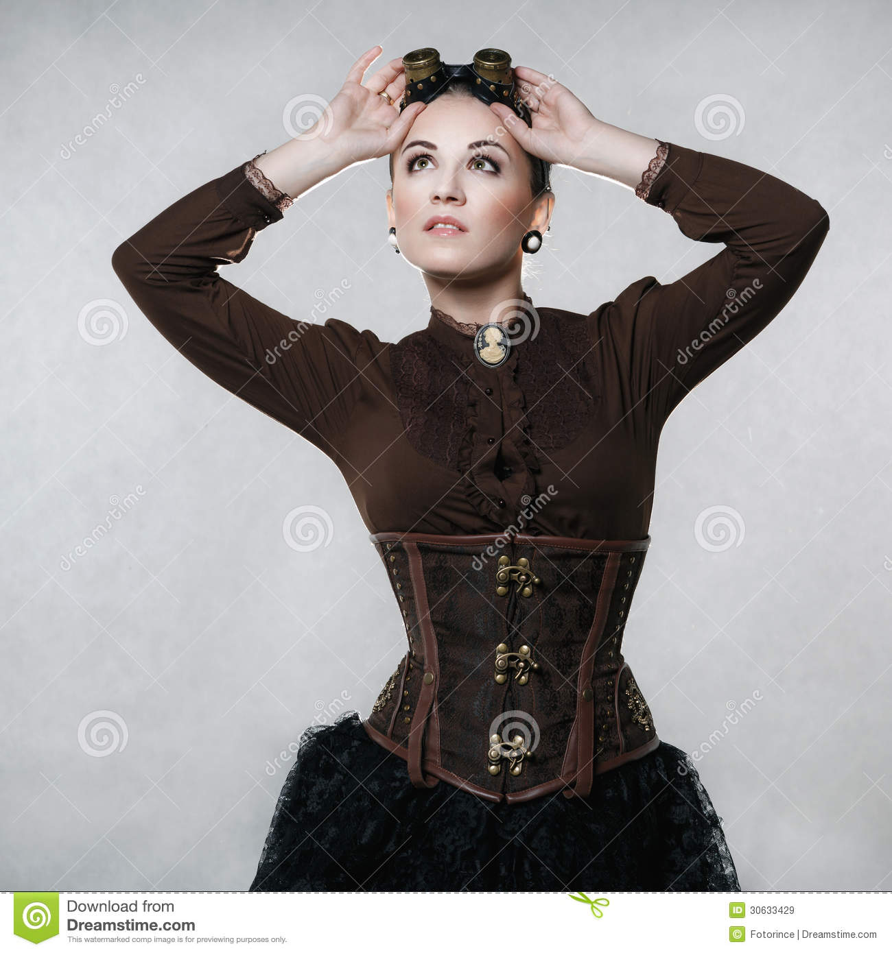 Beautiful Woman In Steampunk Style Royalty Free Stock