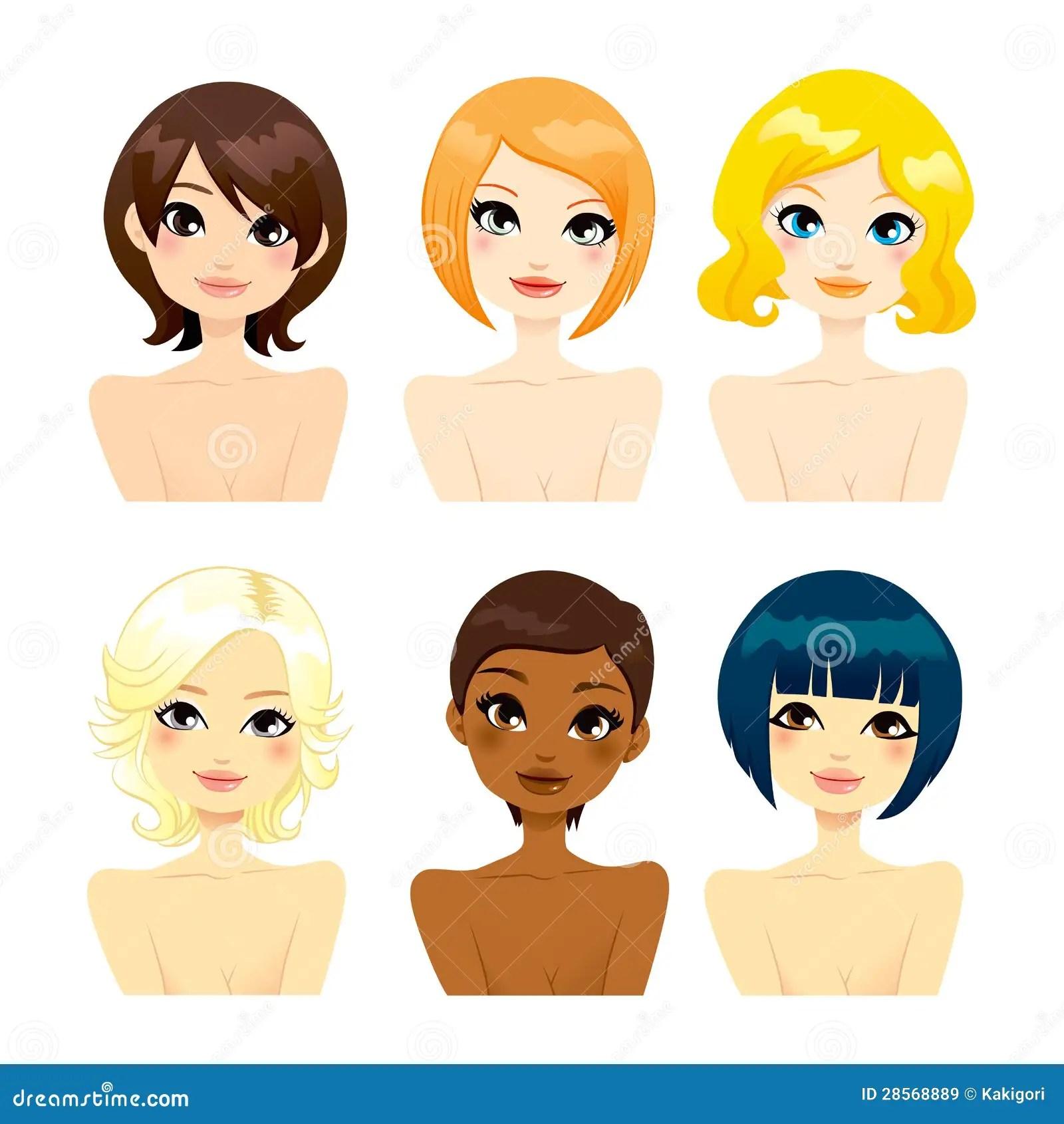 Beautiful Women Short Hair Royalty Free Stock Images