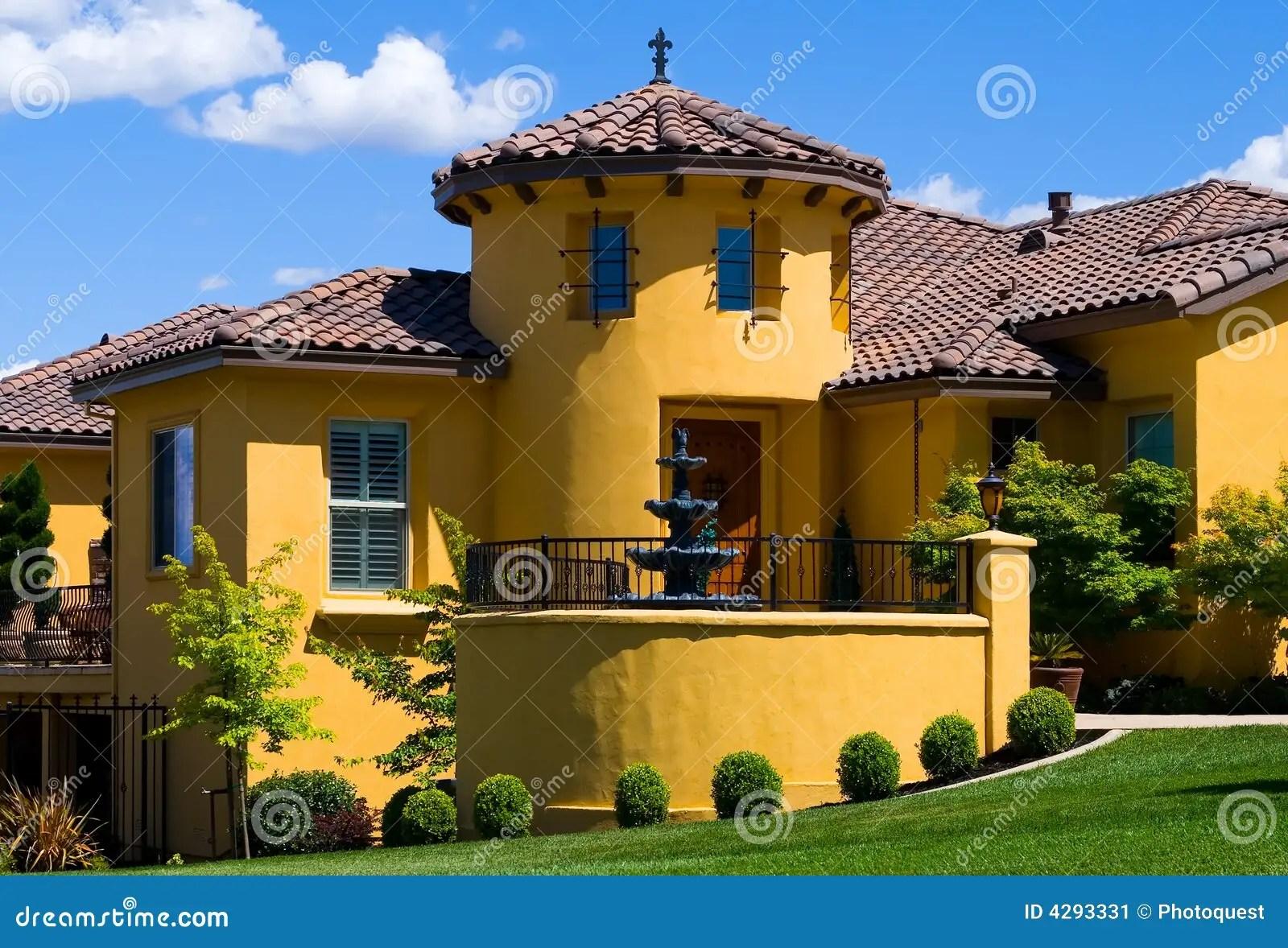 Beautiful Yellow Villa Stock Image  Image 4293331