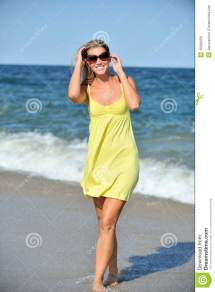 Beautiful Young Blonde Woman In Sundress Beach Stock