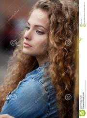 beautiful young girl with curly