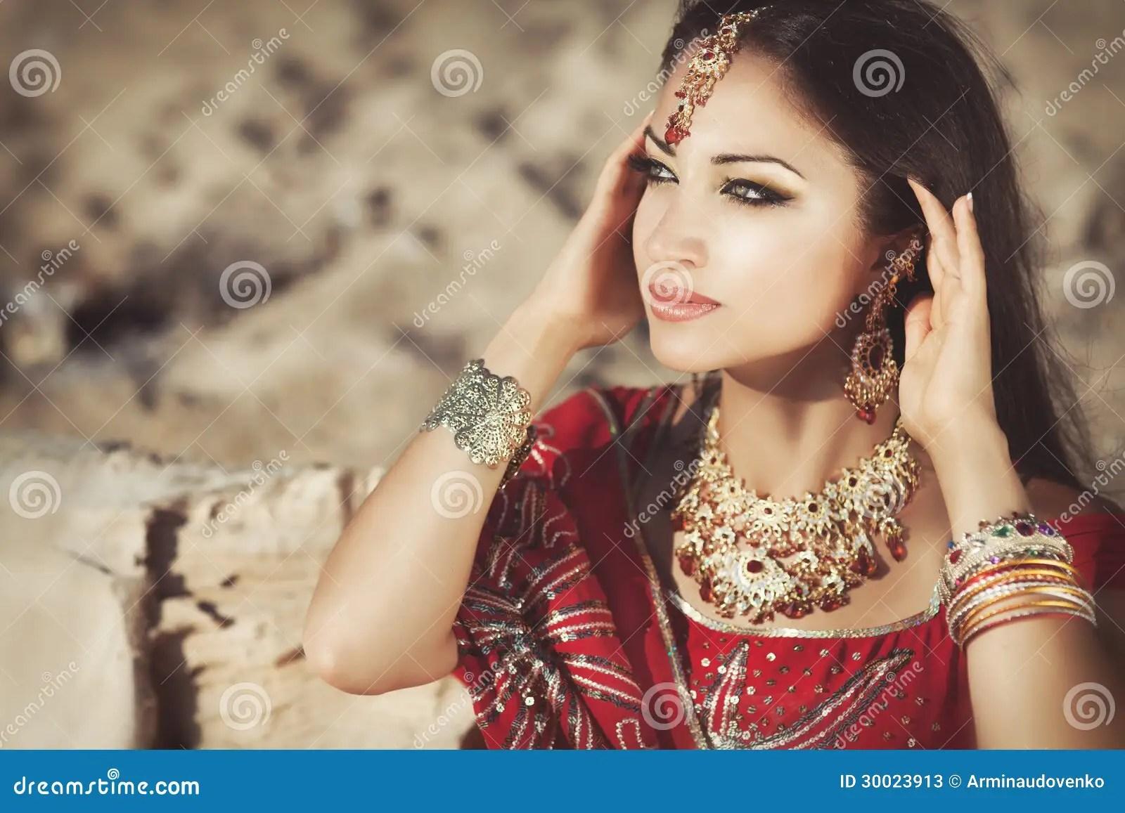 Beautiful Indian Woman Bellydancer Arabian Bride Stock