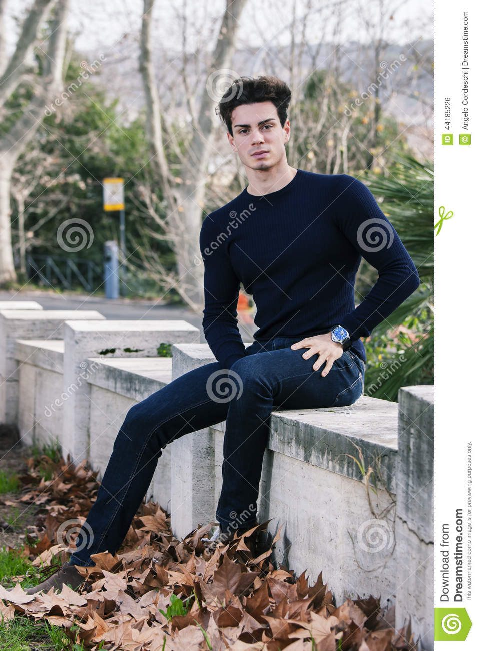 Beautiful Young Man Model Autumn Winter Stock Photo
