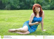 Summer Dress Woman Sitting Outside