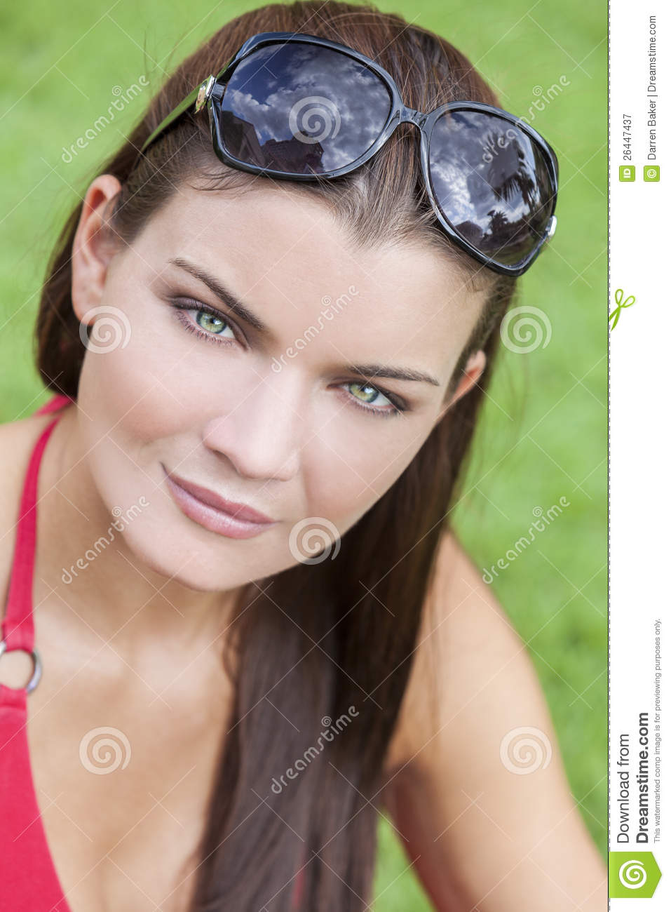 Beautiful Young Woman With Green Eyes Stock Image Image