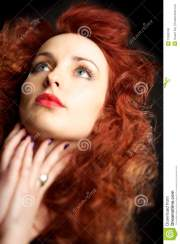 beautiful young woman with red