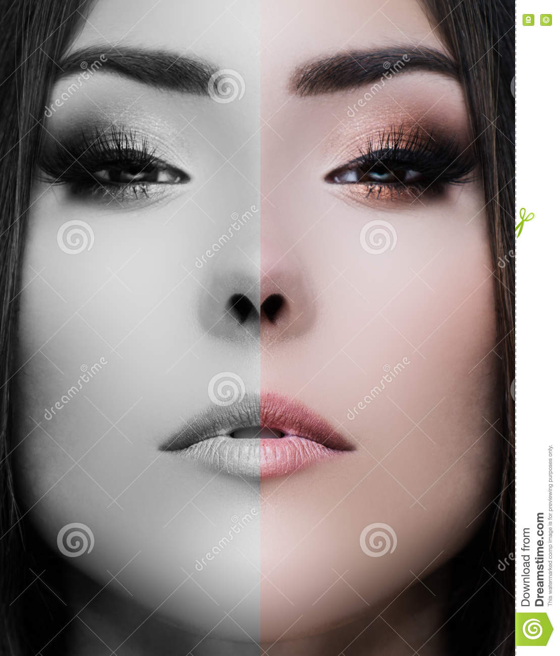 Beauty Close Up Portrait Of Young Woman Face Divided Half
