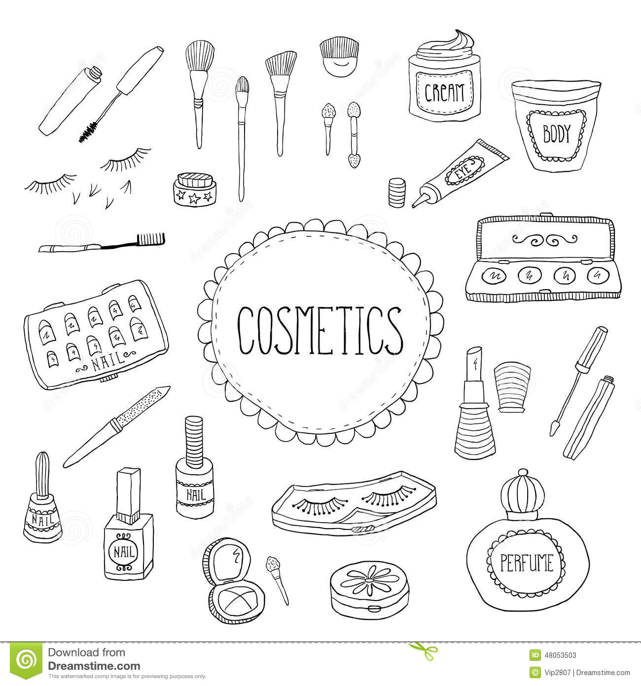 Beauty And Cosmetics Icons Doodles Stock Vector