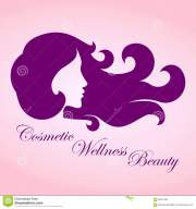 beauty girl with curly hair logo