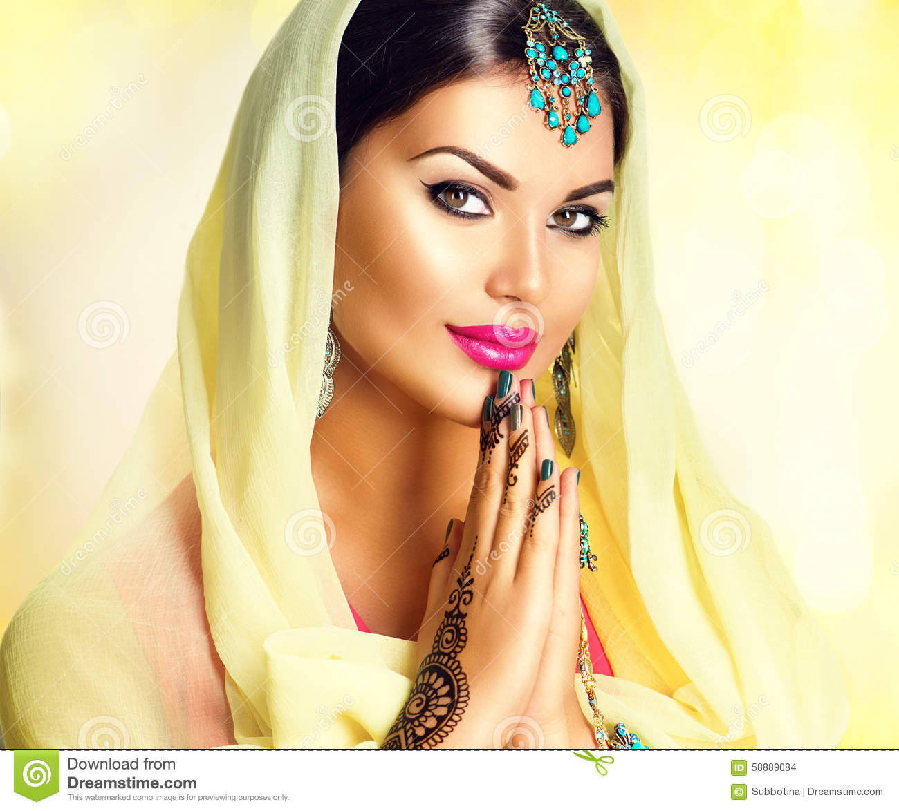 Smiling Face Girl Wallpaper India Beauty Indian Girl With Mehndi Tattoos Hold Palms Together