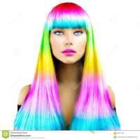 Beauty Model Girl With Colorful Dyed Hair Stock Photo ...
