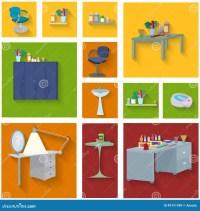 Beauty Spa Furniture Icon Set Flat Design Stock Vector ...