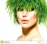 woman with green grass hair stock