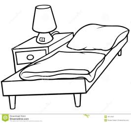 Bed and Bedside stock vector Illustration of black lamp 18111831