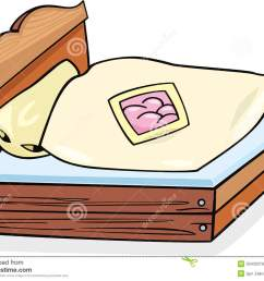 cartoon illustration of retro bed furniture with bedding clip art [ 1300 x 1025 Pixel ]