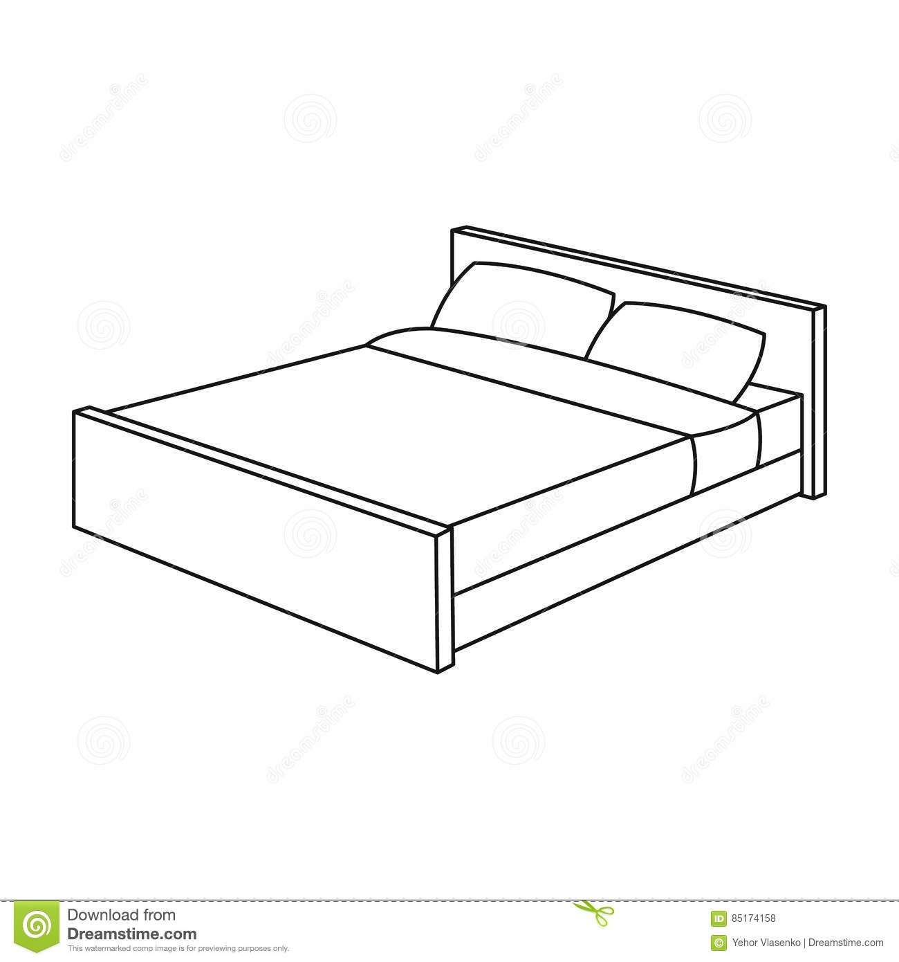Bed Icon In Outline Style Isolated On White Background