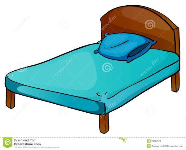 bed and pillow stock vector. illustration
