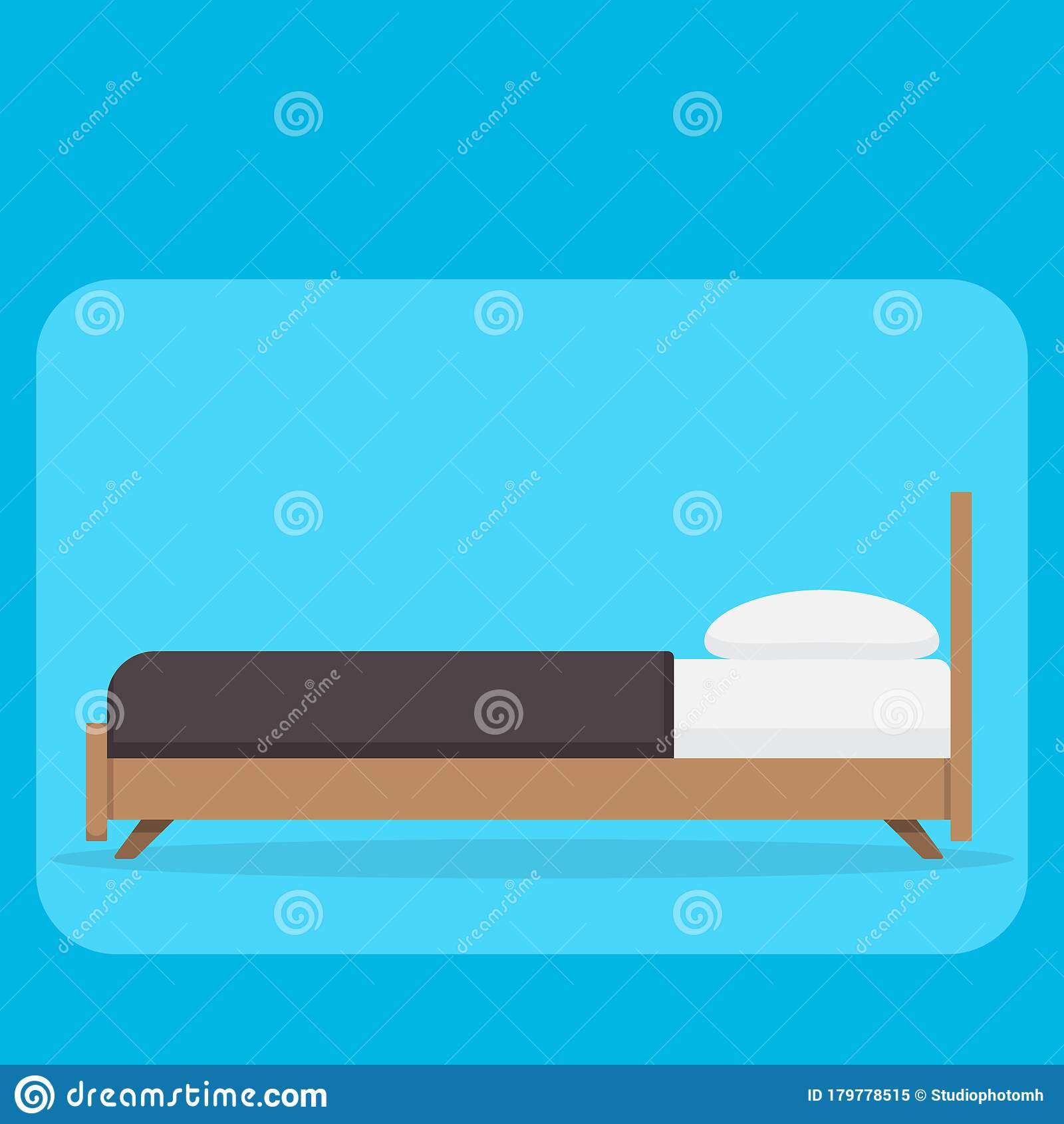 bed pillow and blanket side view flat duvet simple vector illustration stock vector illustration of blanket design 179778515