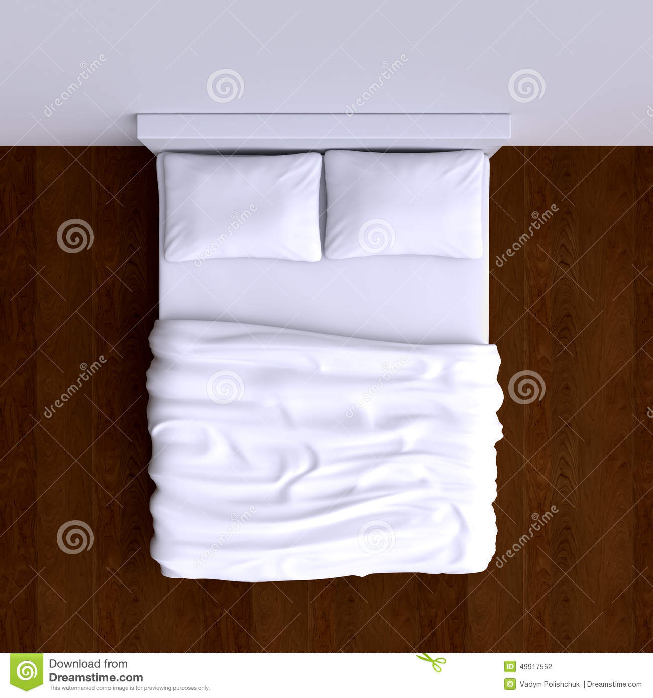 Bed With Pillows And A Blanket In The Corner Room 3d
