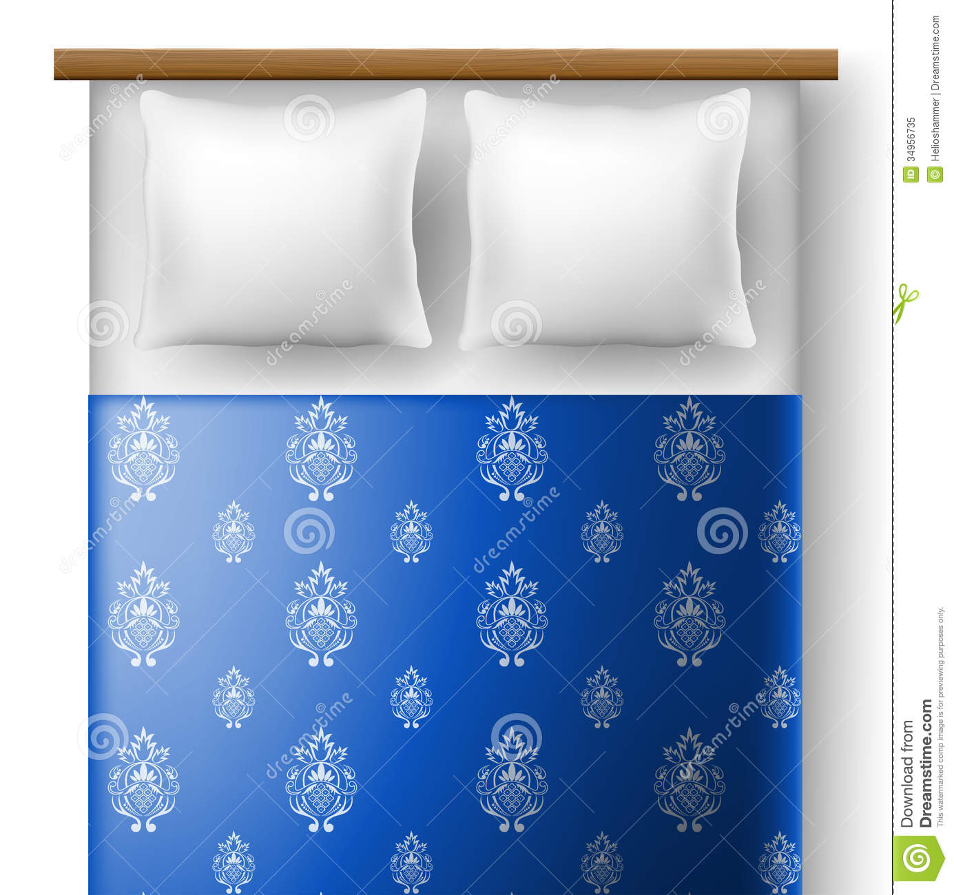 Bed From Top View With Pillows Stock Image  Image 34956735