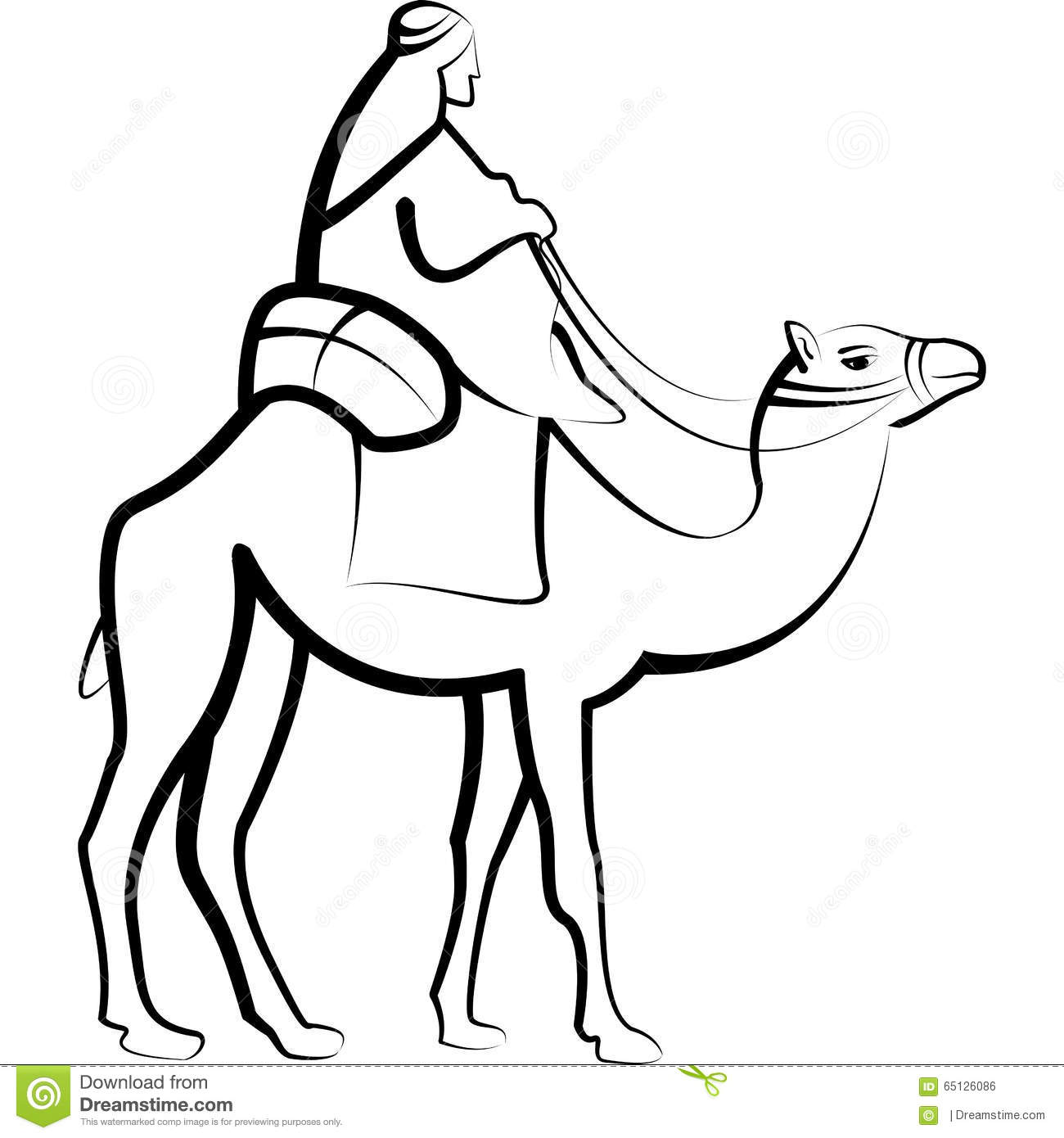Bedouine Riding Camel Stock Illustration Illustration Of