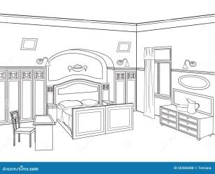 bedroom furniture outline hand drawing sketch interior vector room letto stanza della camera mobilia sk retro editable illustrazione een slaapkamermeubilair