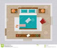 Bedroom With Furniture Overhead Top View. Stock Vector ...