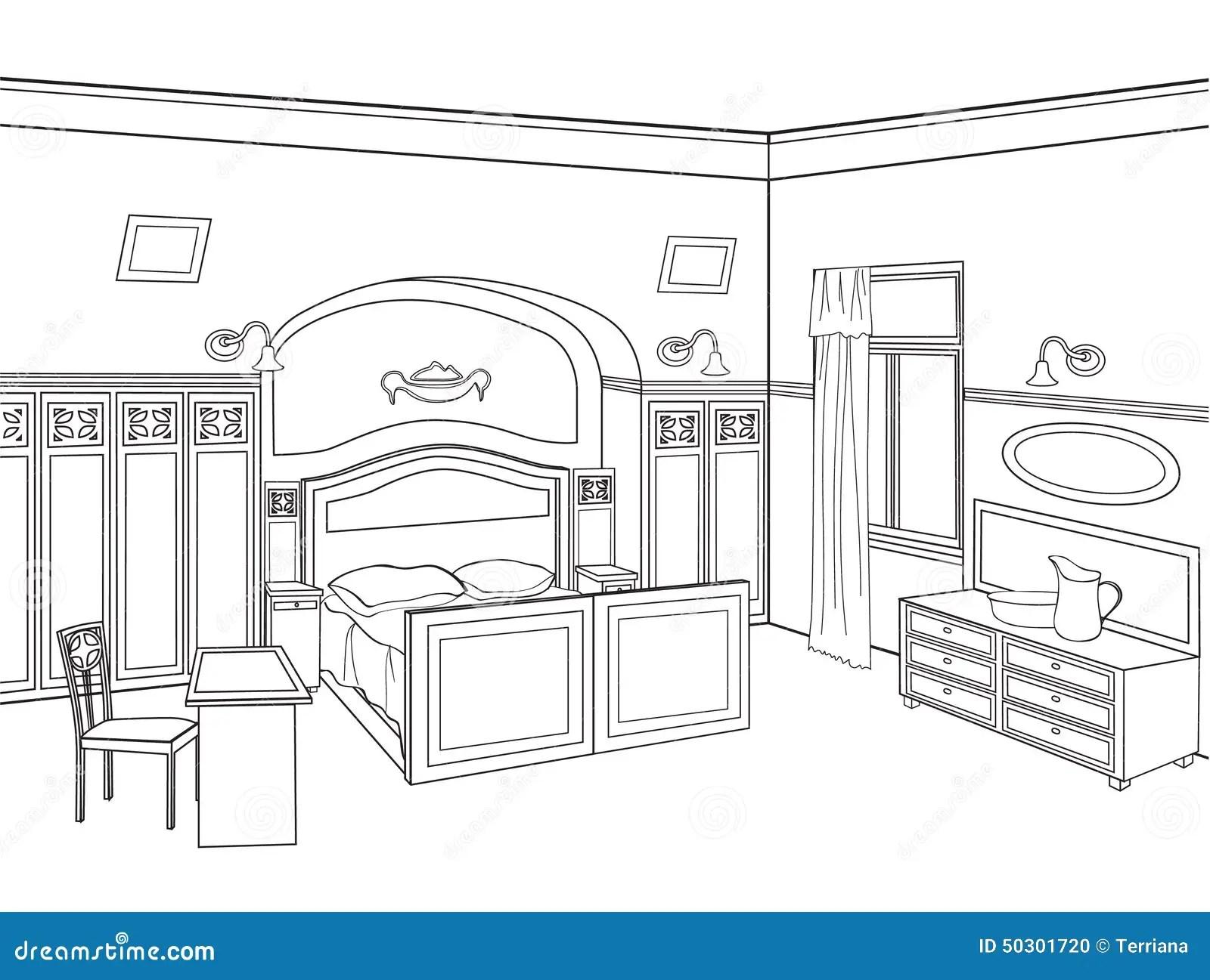 Bedroom Furniture Room Interior In Retro Style Stock