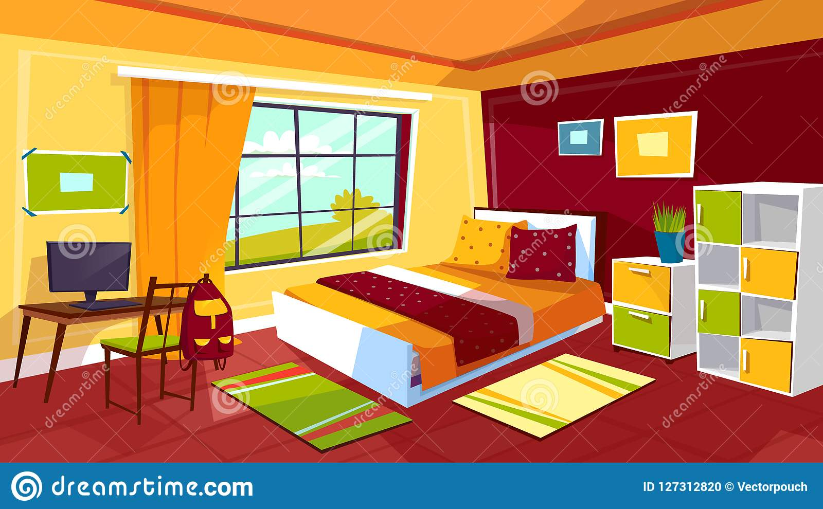 Teen Room Chair Teenager Bedroom Cartoon Illustration Of Teen Girl Or Boy Room
