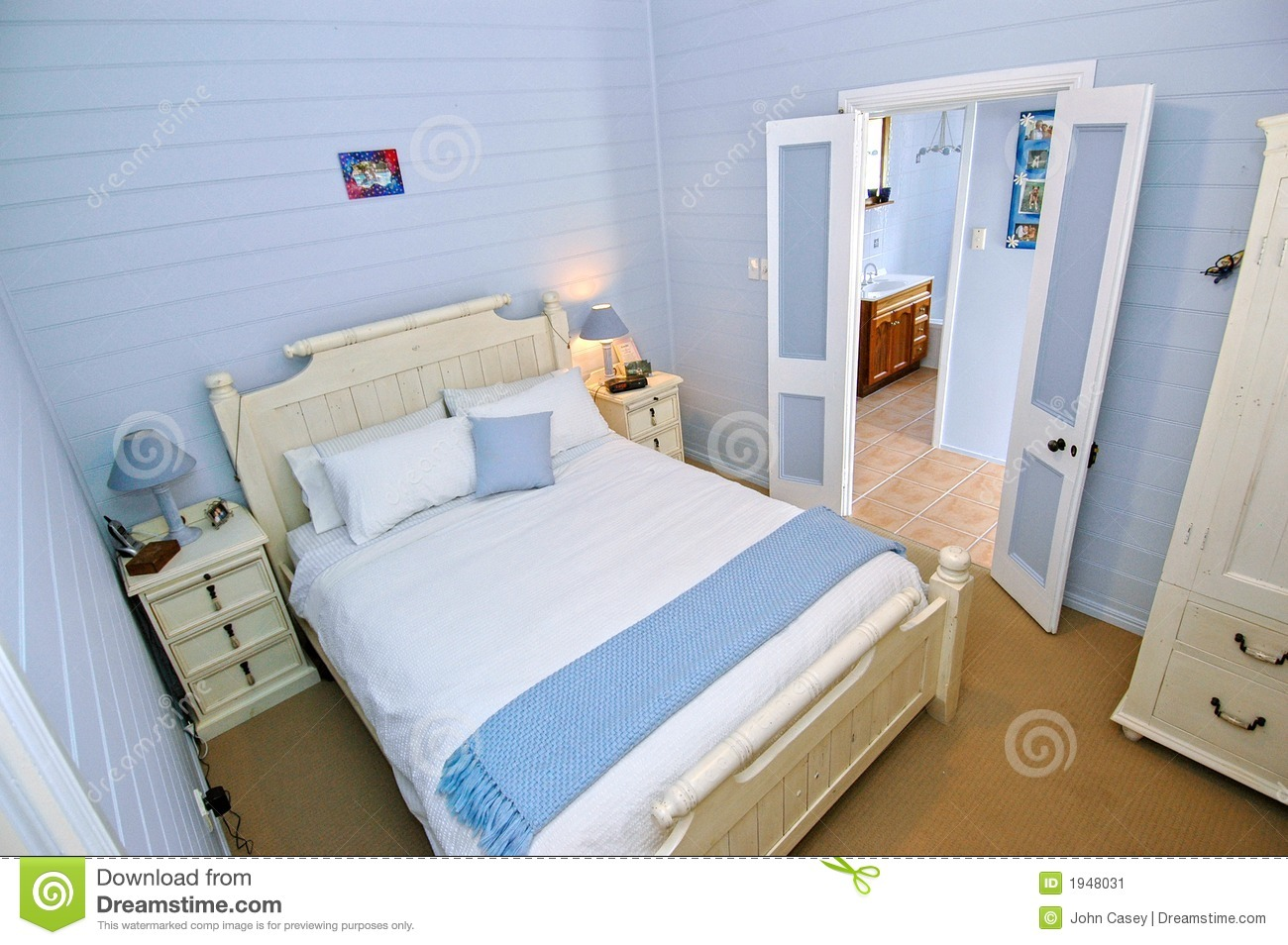Bedroom With Light Blue Walls Stock Image  Image 1948031