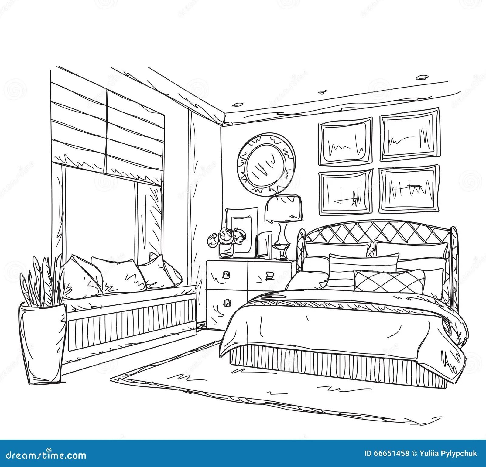 Bedroom Modern Interior Drawing Stock Vector