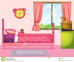 Bedroom With Pink Bed And Curtain Stock Vector Illustration of clipart floor: 96369587