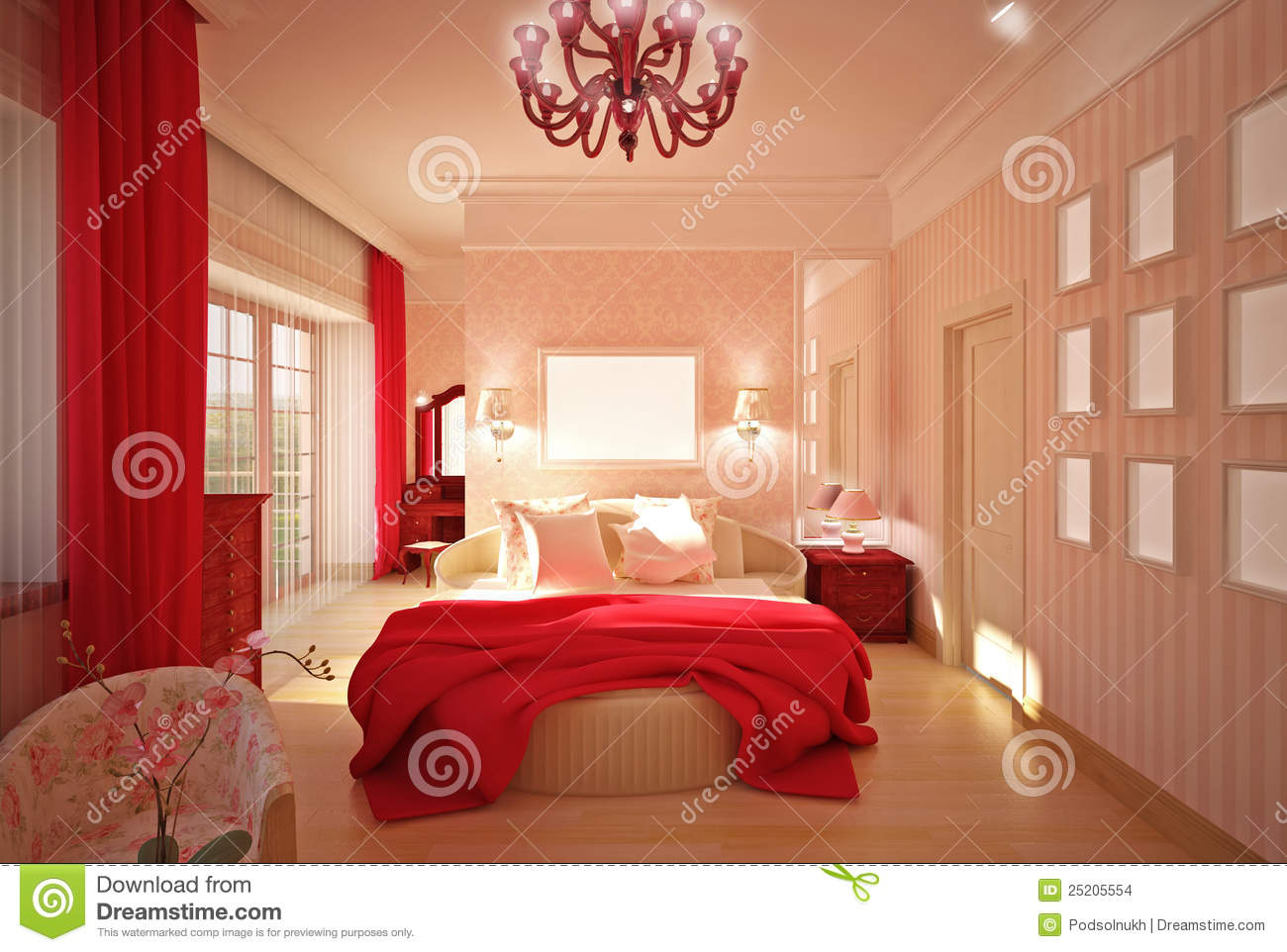 Pink Interior Design Bedroom In Pink Interior Design Stock Images - Image: 25205554