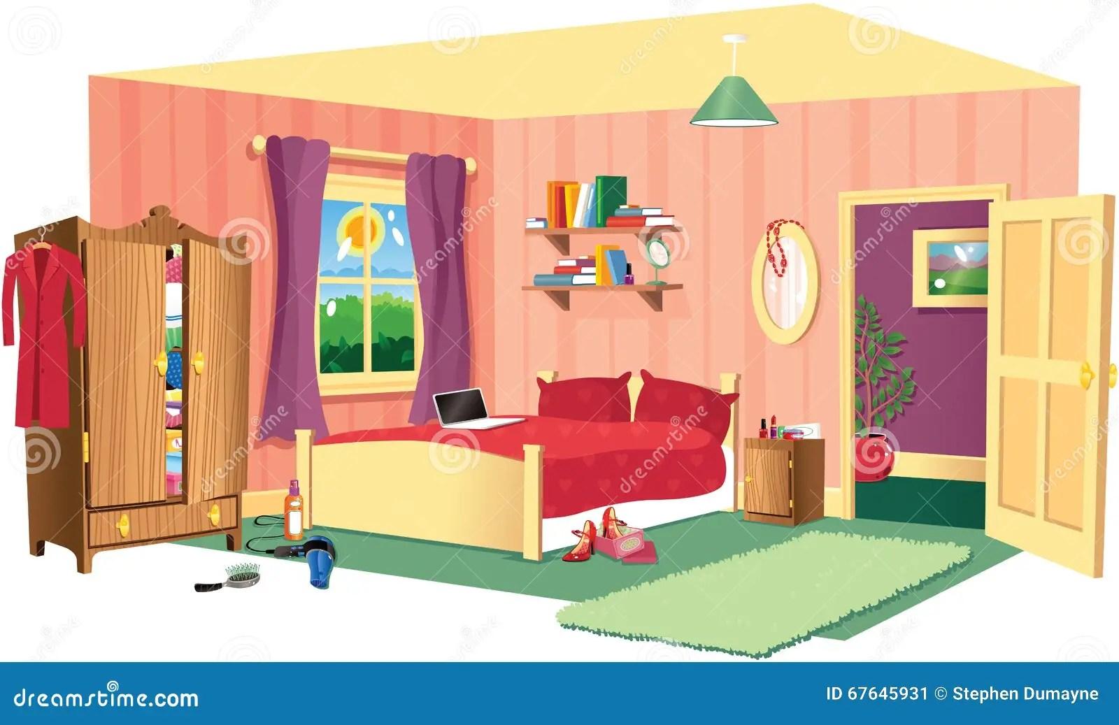 Bedroom Scene Stock Vector Illustration Of Cosy Girls