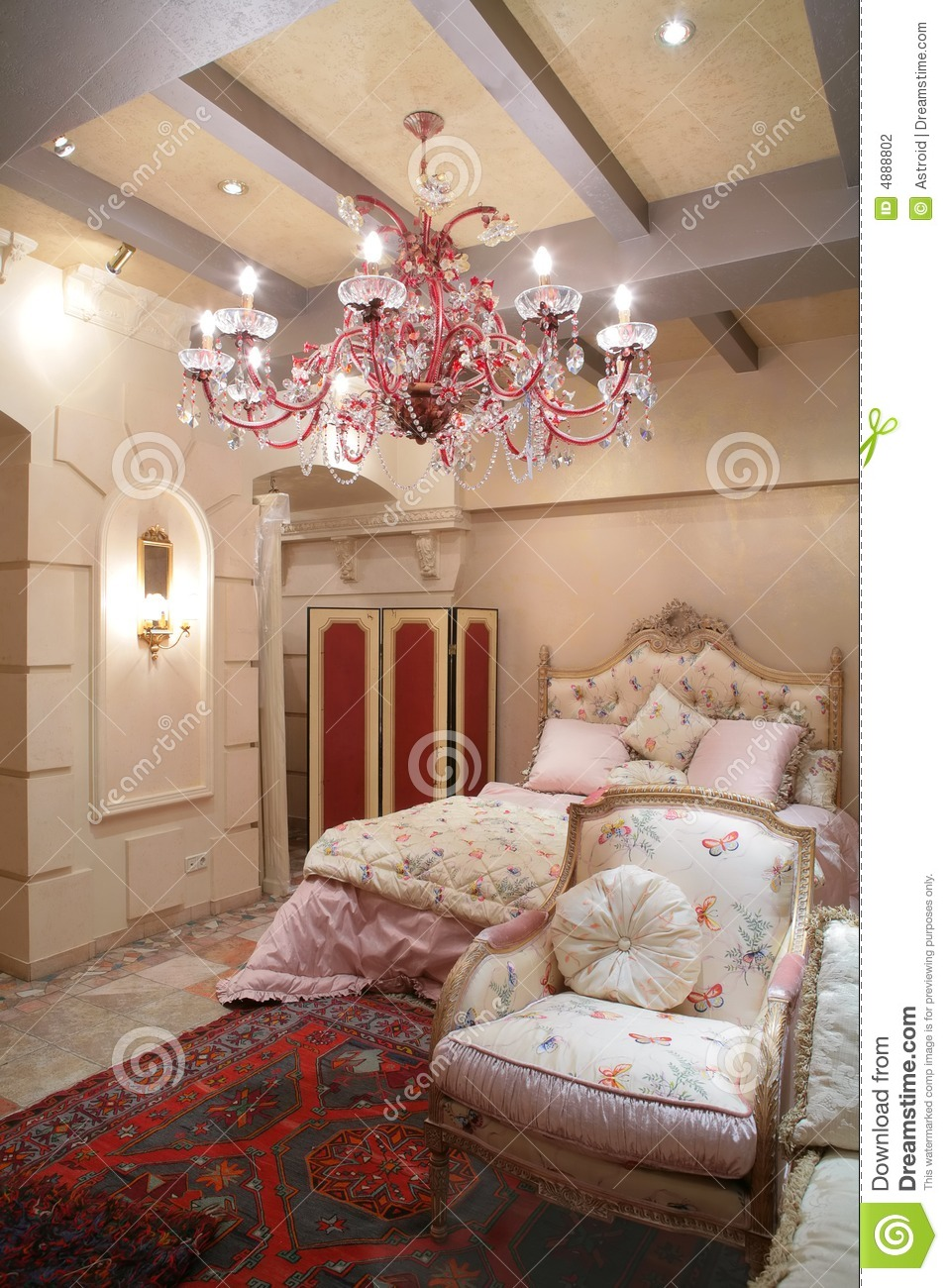 Bedroom in vintage style stock photo Image of coverlet