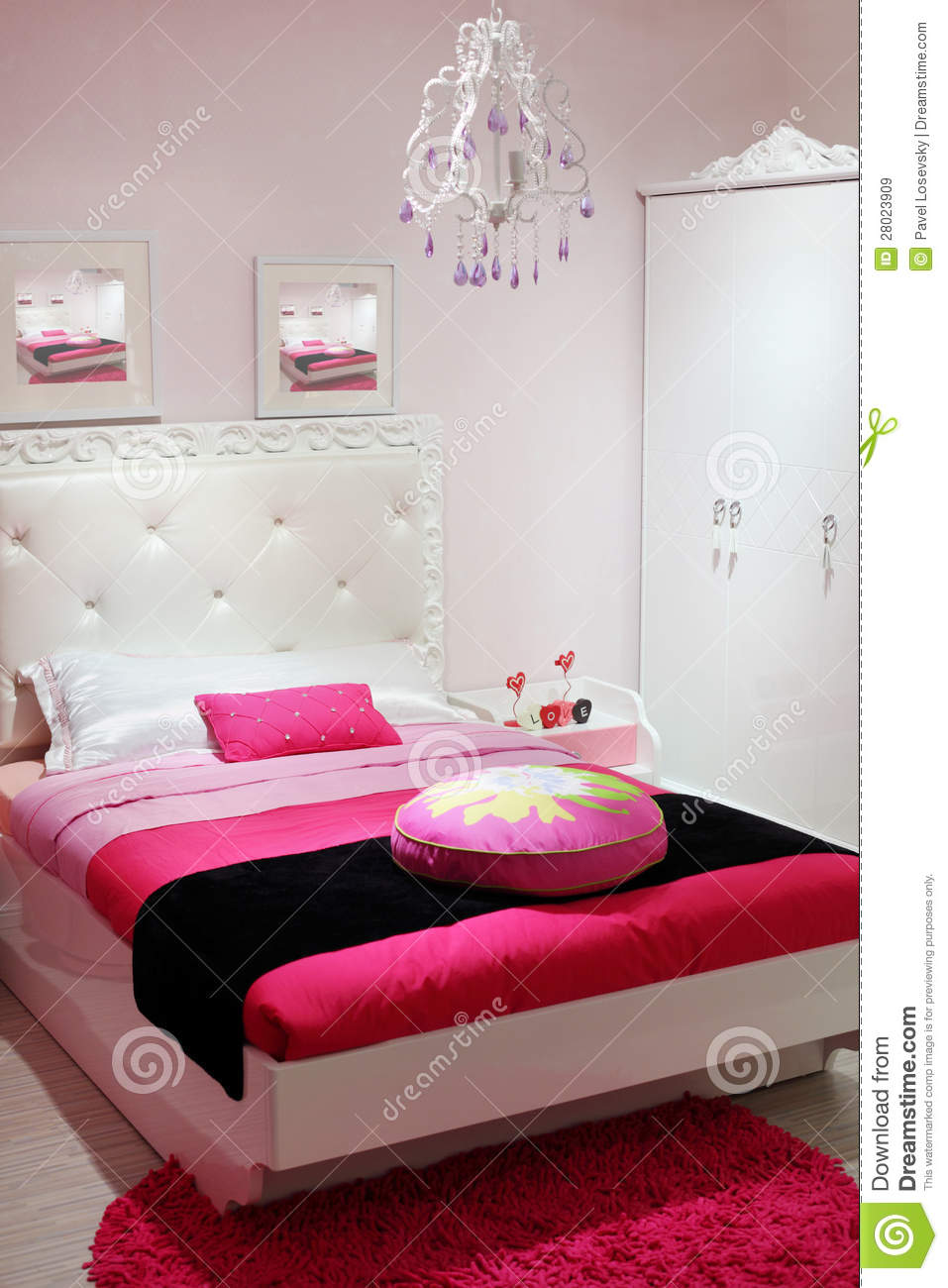 Bedroom With White Wardrobe And Pink Carpet Stock Image