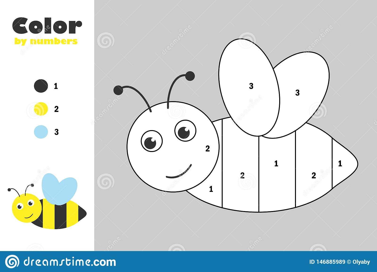 Bee In Cartoon Style Color By Number Education Paper